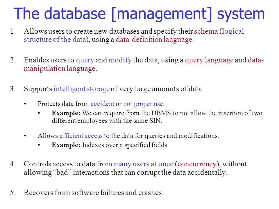 The database [management] system